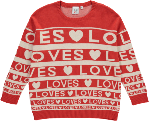 Beau LOves - Knit sweater Love stripes red/cream