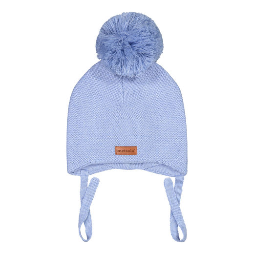 METSOLA - Knitted Baby Beanie, 1 Pom Pom, Cool Blue