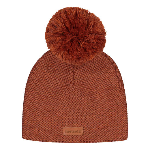 METSOLA - Knitted Classic Beanie, 1 Pom Pom, Roasted Pecan