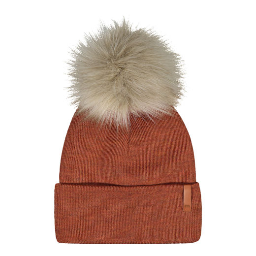 METSOLA - Knitted rib Beanie folded + FUR, Roasted Pecan