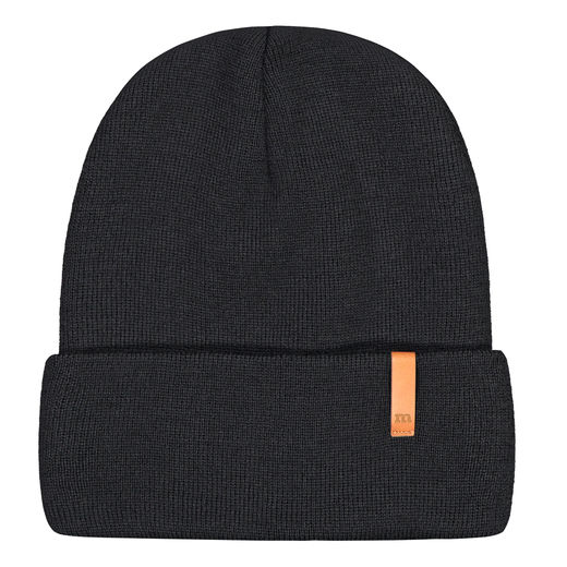 METSOLA - Knitted rib Beanie folded, Black