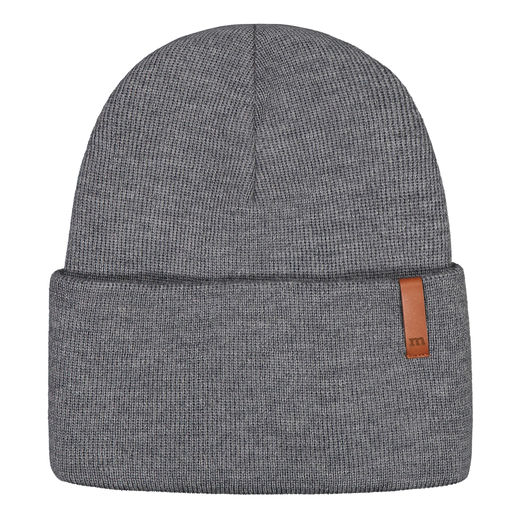 METSOLA - Knitted rib Beanie folded, Granite