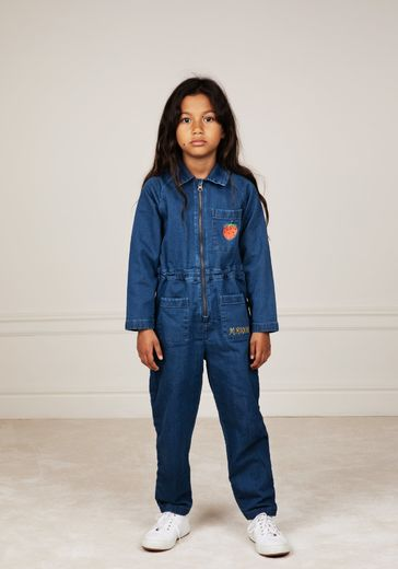 Mini Rodini - Denim strawberry onesie, Blue