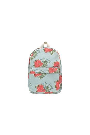 "Tinycottons - ""FLOWERS"" BACKPACK, sea green/red"