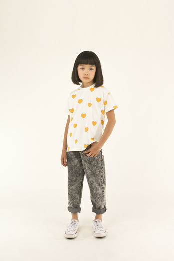 Tinycottons - HEARTS TEE SHIRT, off-white/yellow