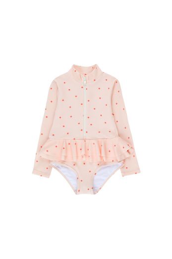 Tinycottons - STARFISH FRILLS LS ONE-PIECE, pastel pink / red