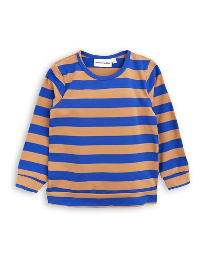 mini rodini - Block stripe LS cuff tee, blue