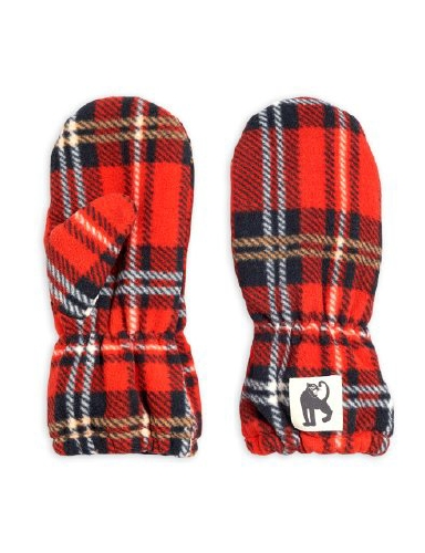 Mini Rodini -  Fleece check mittens, Red