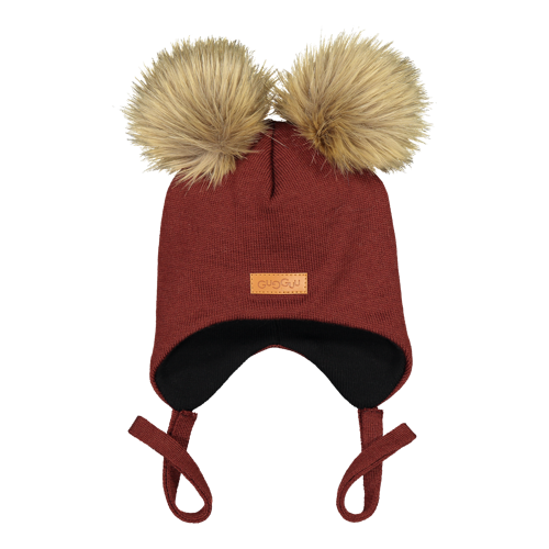 Gugguu - Double furry baby beanie, bark brown