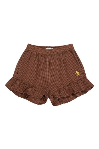 Tinycottons - Check frills shorts, cinnamon/ink blue