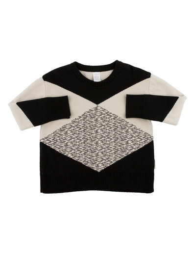 Tinycottons - Geometric sweater, beige/black