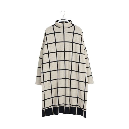 Papu - KNIT COSY DRESS GIANT DRESS WOMEN, Black, White sand