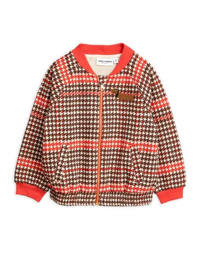Mini Rodini - Houndstooth baseball cardigan, red