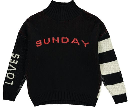 Beau LOves - Knit oversized sweater high neck Sunday, black/cream