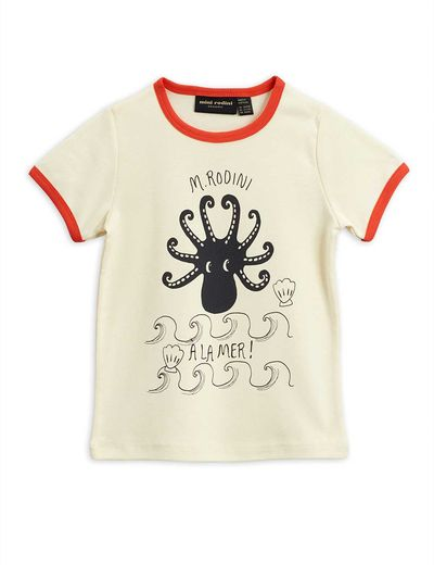Mini Rodini - Octopus ss tee, red