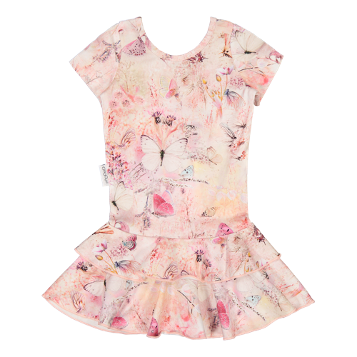 Gugguu - Print frilla T-shirt dress, Coral Butterfly
