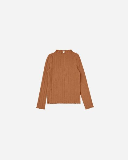 Rylee + Cru - Ribbed long sleeve top, cinnamon