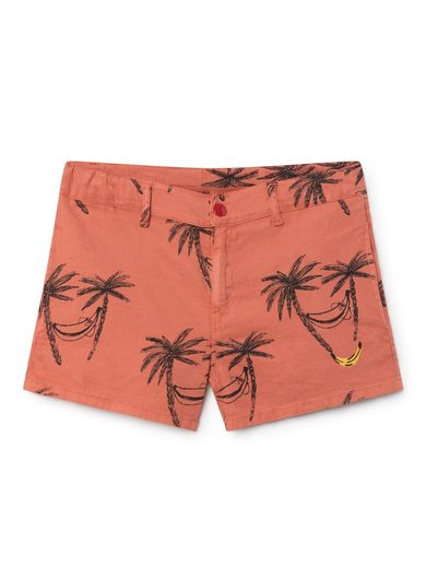 Bobo Choses - Siesta Tennis Linen Shorts, red