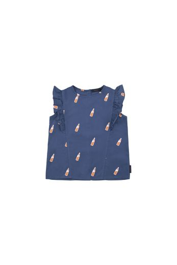 Tinycottons - 'SODA BOTTLES' RUFFLES BLOUSE light navy/brown