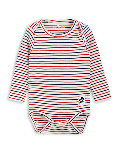 mini rodini - Stripe rib LS body, offwhite