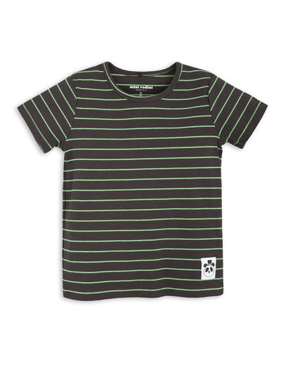 mini rodini - Stripe rib SS tee, black