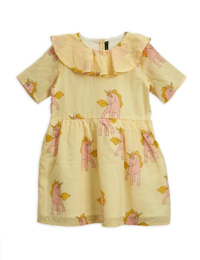 Mini Rodini - Unicorns ss woven dress, yellow